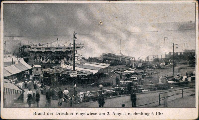 Johannstadt-Dresden Brand der Dresdener Vogelwiese . August 6 Uhr 1909