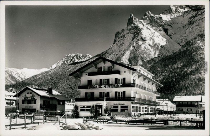 Ansichtskarte Mittenwald Alpenhotel Erdt im Winter  1930