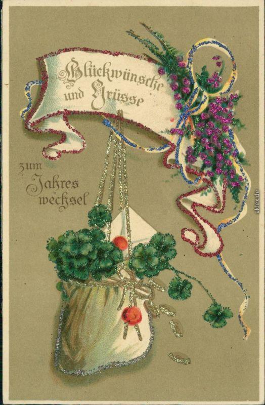 Ansichtskarte  Glückwunsch Neujahr - Applikationen 1913
