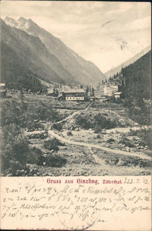 Ginzling-Mayrhofen Blick auf die Kapelle mit Brücke und Bach 1908