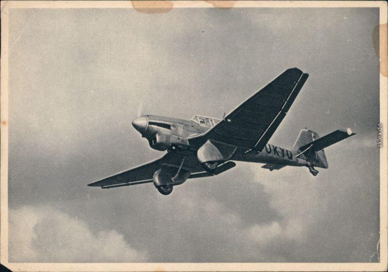 Werbeblatt-Karte Ganzmetall Flugzeug Junkers Stucka JU 87 1935
