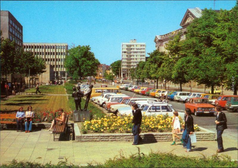Ansichtskarte Potsdam Heinrich-Rau-Allee - mit vielen parkenden Pkw's 1982