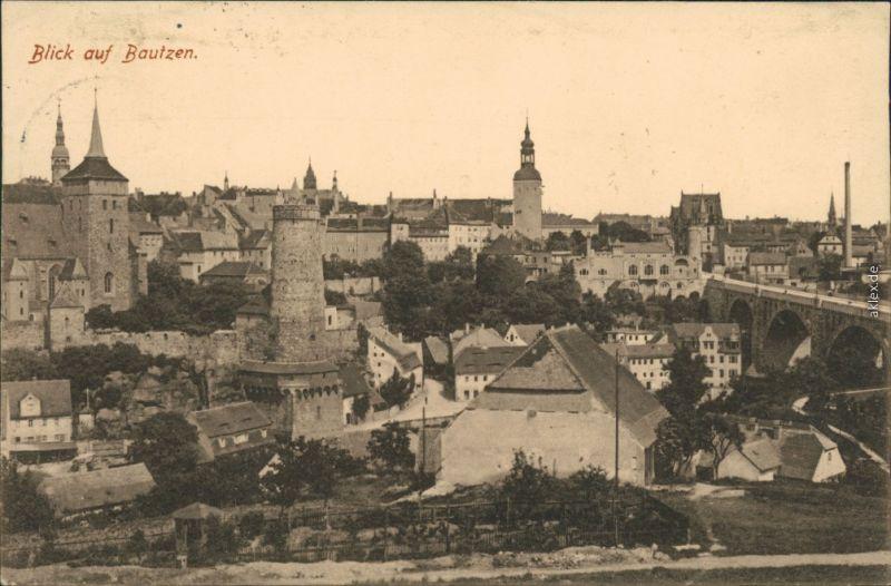 Ansichtskarte Bautzen Budyšin Panoramablick mit Brücke und Kirchtürmen 1915