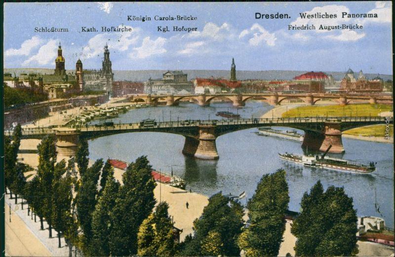 Innere Altstadt-Dresden Augustusbrücke / Friedrich August Brücke  1923
