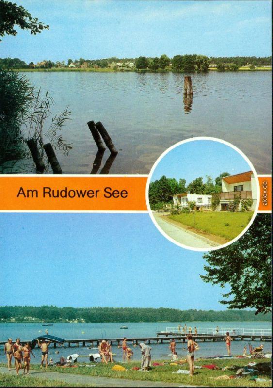 Ansichtskarte Lenzen (Elbe) Uferbereich, Badestrand mit Bootssteg 1985