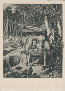 Simplici Schreibstunde aus Intermezzi, Radierung von Max Klinger 1956