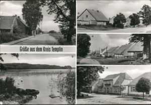 Templin Beenz - Dorfstraße, Thomsdorf - Dorfstraße mit Gaststätte 1987
