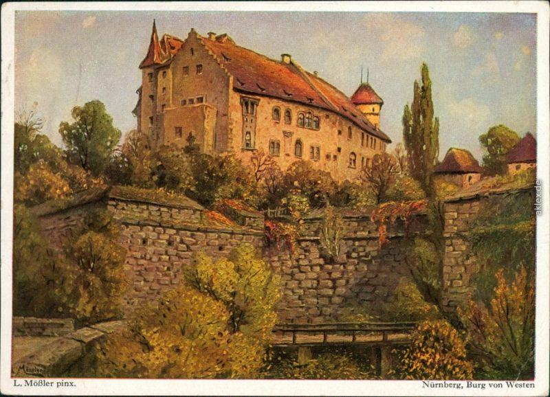 Nürnberg Nürnberger Burg nach Gemälde con Ludwig Mößler 1953