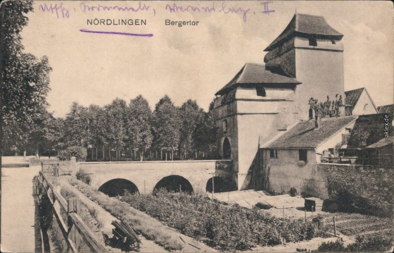 Ansichtskarte Ansichtskarte Nördlingen Partie am Begertor 1918