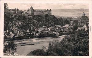 Ansichtskarte Pirna Blick auf die Stadt und Anlegestelle 1932