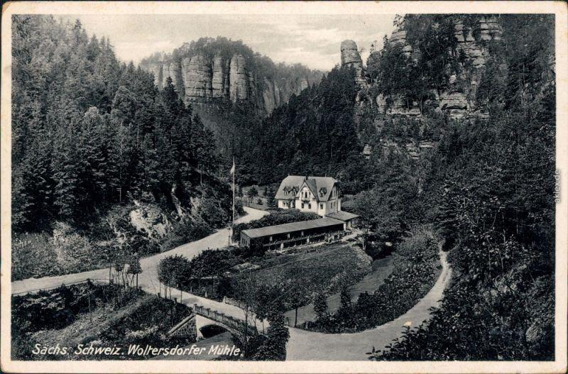 Ansichtskarte Polenz-Neustadt (Sachsen) Waltersdorfer Mühle 1936