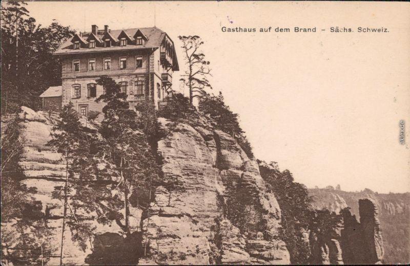 Hohnstein (Sächs. Schweiz) Gasthaus auf dem Brand, Sächsische Schweiz 1916