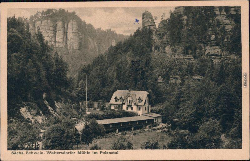 Ansichtskarte Polenz-Neustadt (Sachsen) Waltersdorfer Mühle 1928
