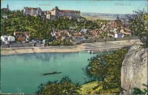 Ansichtskarte Pirna Blick auf die Stadt 1918