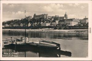 Ansichtskarte Pirna Blick auf die Stadt - Anlegestelle 1946