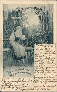 Eisenach Thüringer Gruß - Mädchen im hintergrund Wartburg 1903