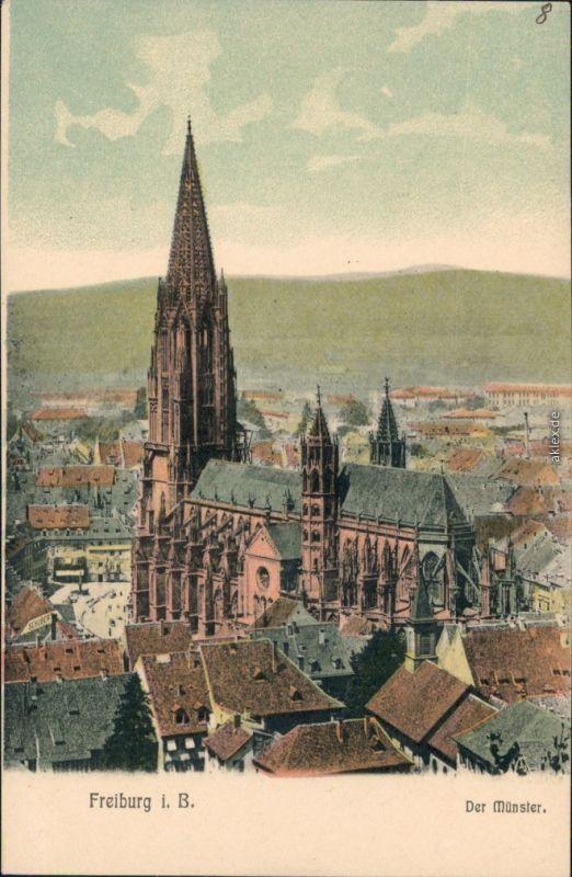 Ansichtskarte Freiburg im Breisgau Blick über die Stadt - Münster 1908