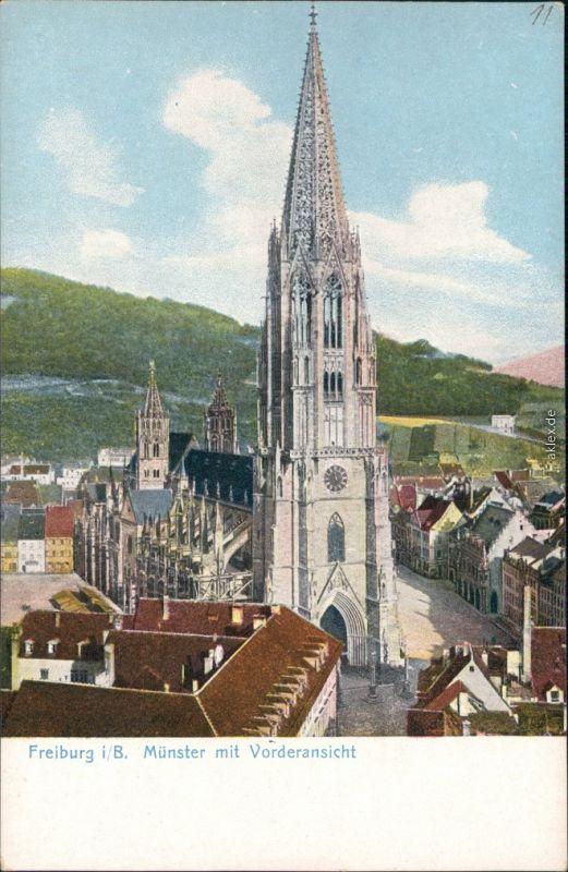 Ansichtskarte Freiburg im Breisgau Straße und Münster - Vorderansicht 1912
