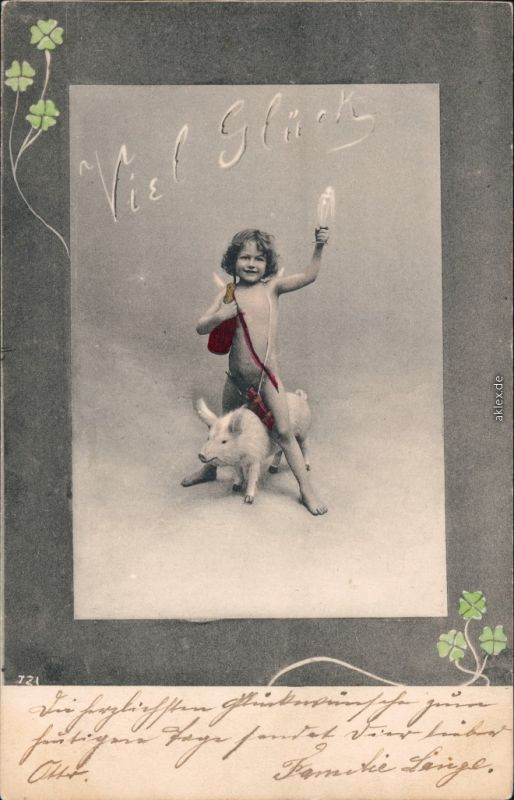 Ansichtskarte  Kleiner junge reitet auf Schwein - Neuahr - viel Glück 1904