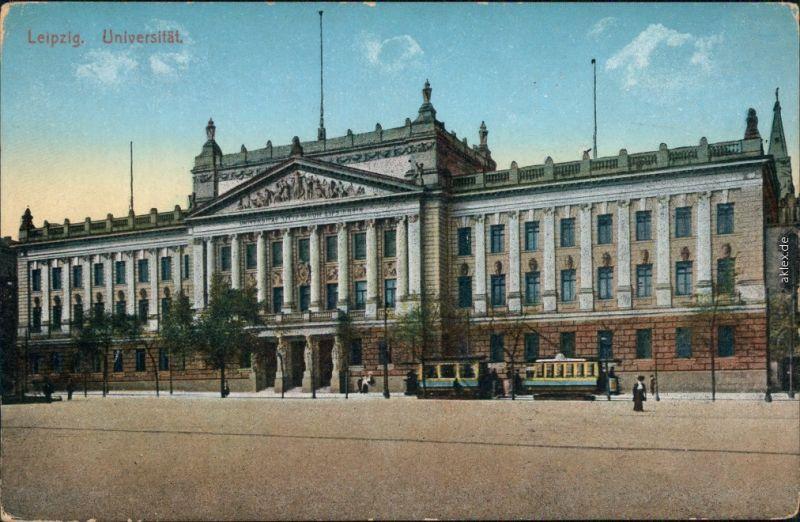 Ansichtskarte Leipzig Partie an der Universität - Straßenbahn 1915