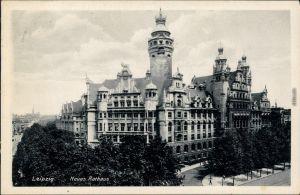 Ansichtskarte Leipzig Straßenpartie am Neuen Rathaus 1936