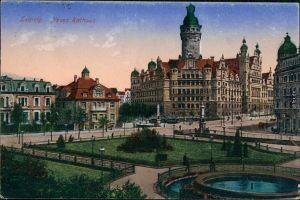 Ansichtskarte Leipzig Straßenpartie am Neuen Rathaus 1922