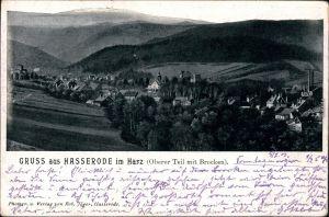 Ansichtskarte Hasserode-Wernigerode Oberer Teil mit Brocken 1903