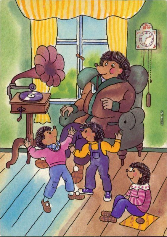 Ansichtskarte  DDR-Mecki: zu Hause im Sessel, Kinder tanzen zur Musik 1985