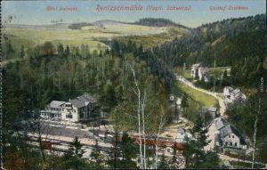 Ansichtskarte Rentzschmühle Bahnhof, Hotel und Gasthaus 1926