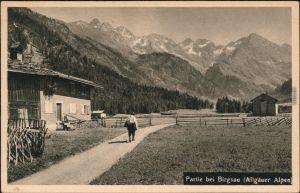Ansichtskarte Birgsau-Oberstdorf (Allgäu) Partie auf der Alm 1930