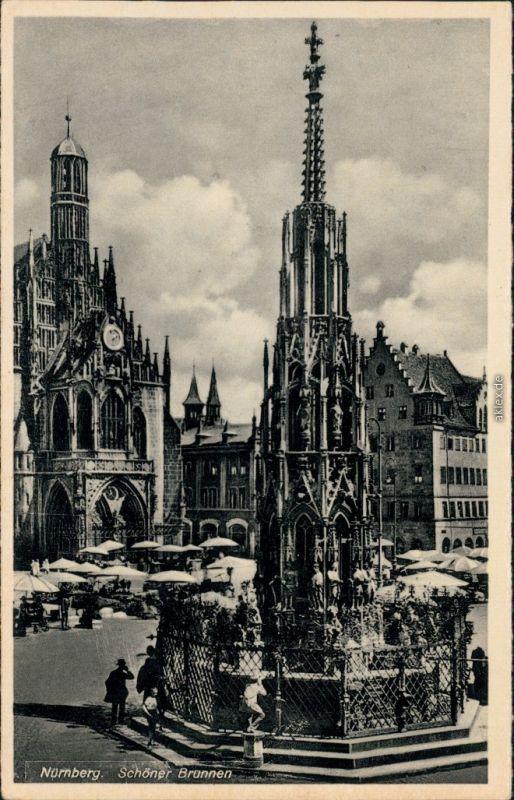 Ansichtskarte Nürnberg Schöner-Brunnen 1940