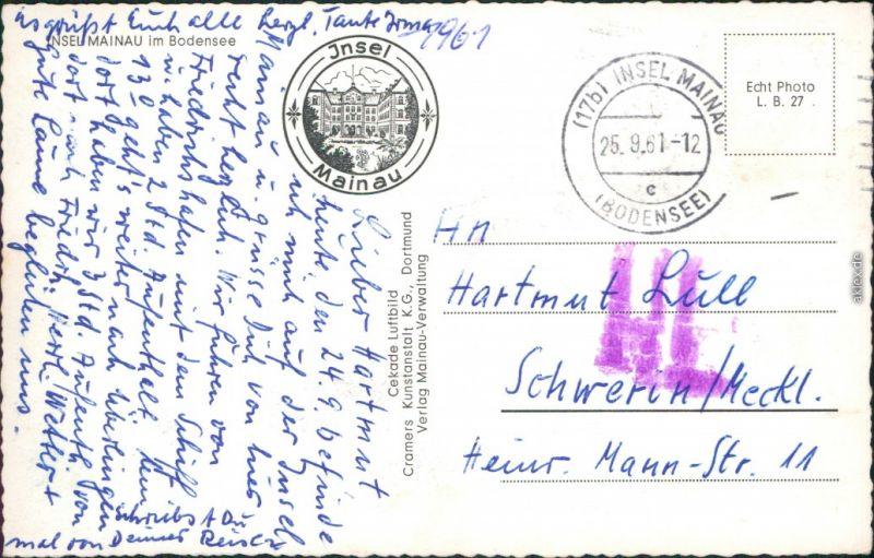 Insel Mainau Karte.Ansichtskarte Konstanz Luftbilder Insel Mainau 1961