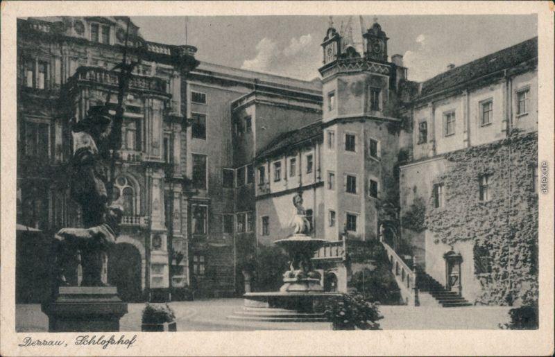 Ansichtskarte Dessau-Dessau-Roßlau Herzogliches Schloss - Schloßhof 1956