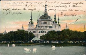 Ansichtskarte Bremen Parkhaus im Bürgerpark mit Teich und Schwäne 1904