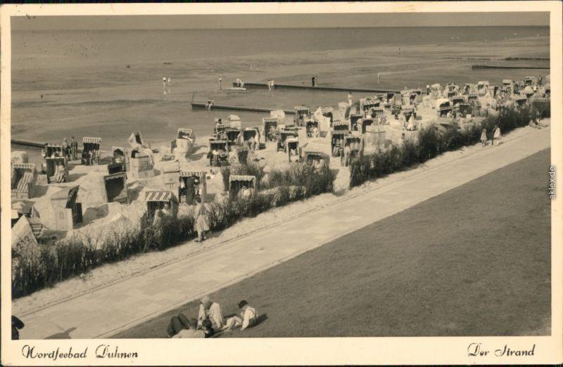 Ansichtskarte Duhnen-Cuxhaven Strand mit vielen Strandkörben 1951