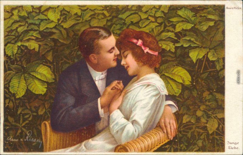 Wenau-Delila-Künstlerkarten - Arno v. Riefen - Junge Liebe 1918