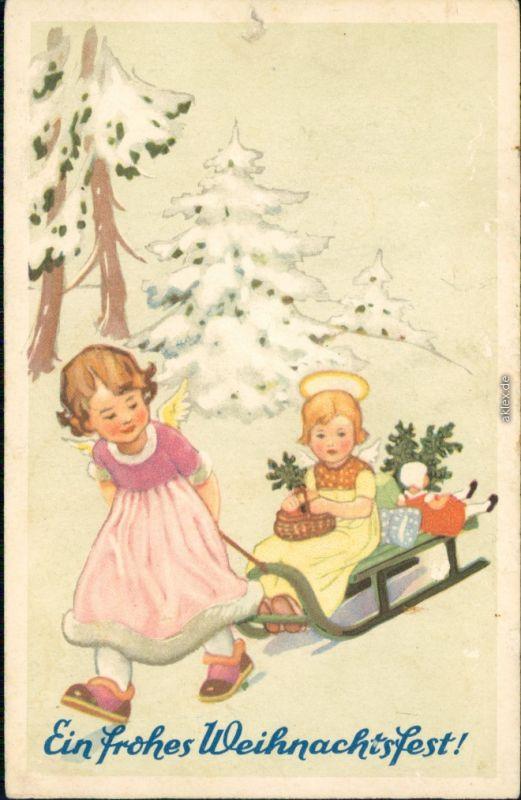 Ein frohes Weihnachtsfest - Zwei Kinder-Engel mit Schlitten 1949 0