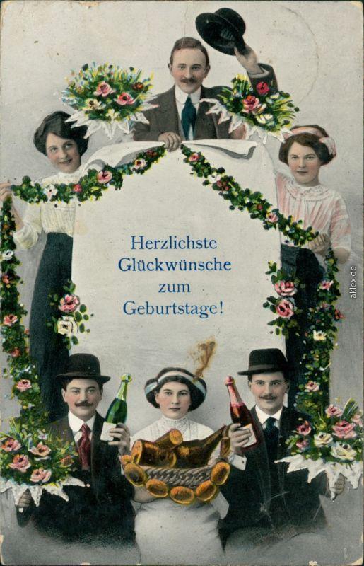 Glückwunsch - Geburtstag mit Sekt und Korb voller Nahrungsmittel 1915