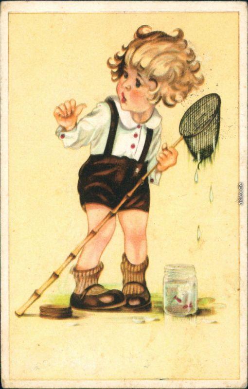 Ansichtskarte  Glückwunsch - Geburtstag - Junge mit Kescher 1949