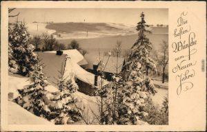 Glückwunsch - Neujahr/Sylvester im Wintergewand ein Bauerngehöft 1938