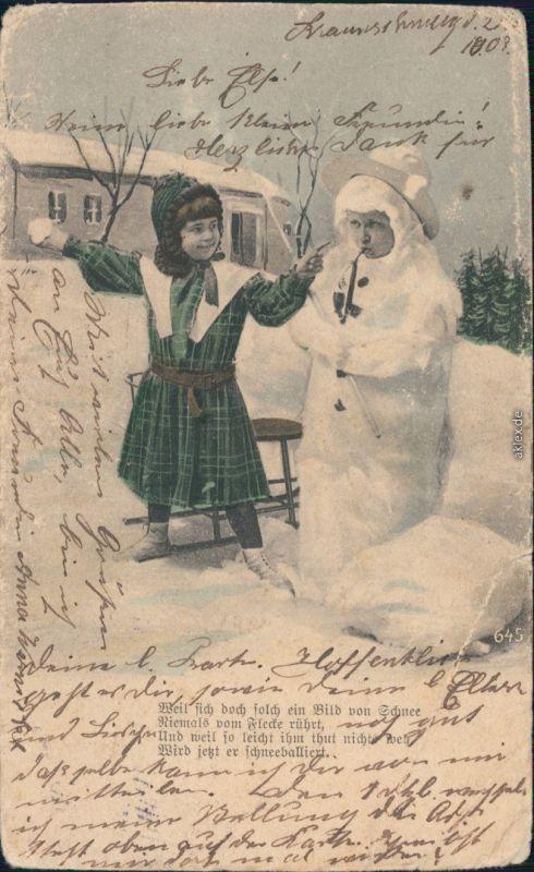 Ansichtskarte Gluckwunsch Geburtstag Kinder Im Schnee 1903 Nr