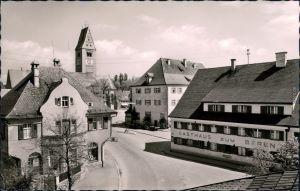 Obergünzburg Marktplatz mit Kirche im Hintergrund und Gasthaus   1956