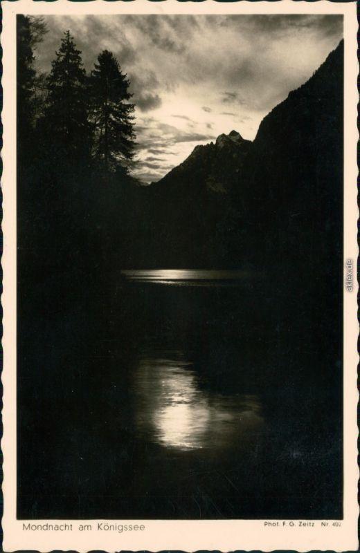 Ansichtskarte Schönau am Königssee Mondnacht am Königssee 1932