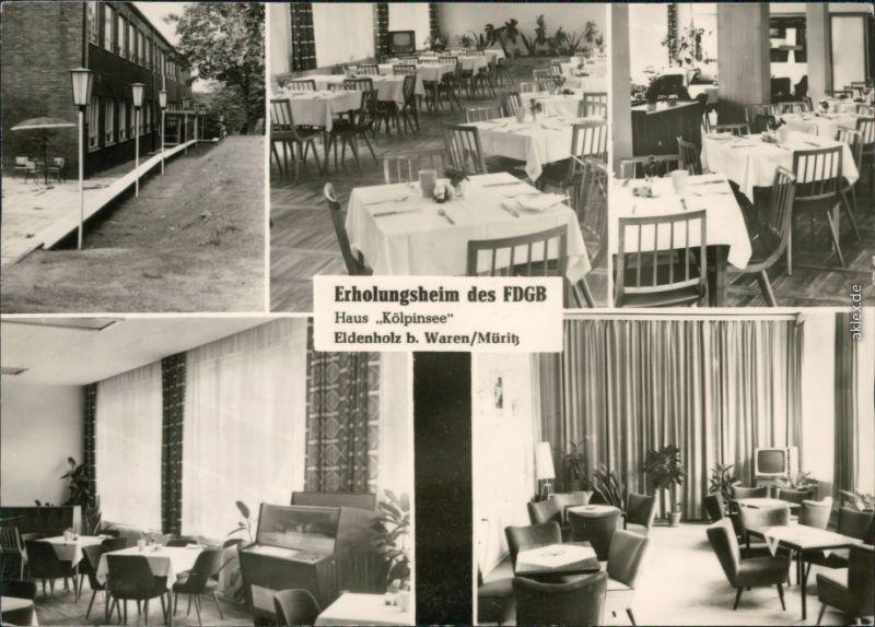 Ansichtskarte Waren (Müritz) FDGB-Erholungsheim Haus Kölpinsee 1969