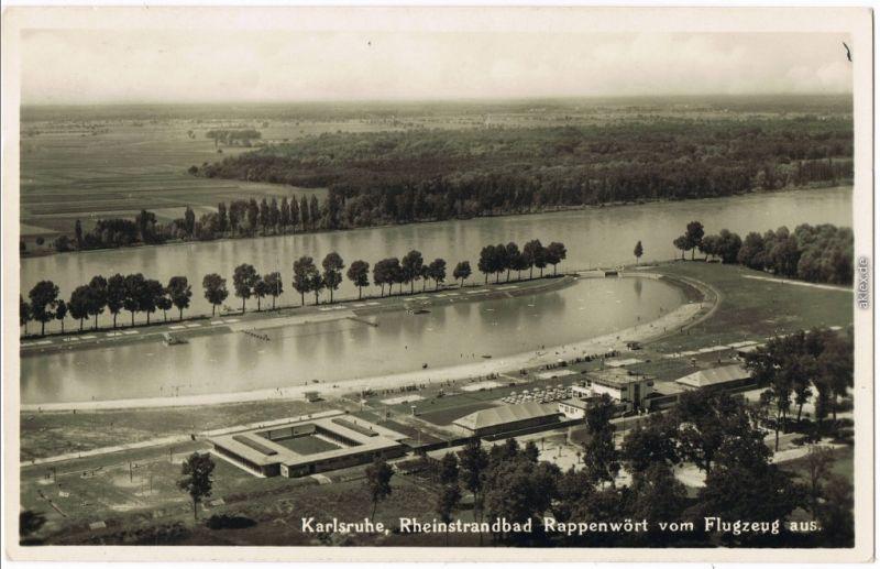 Ansichtskarte Karlsruhe Luftbild Rheinstrandbad Rappenwört 1929