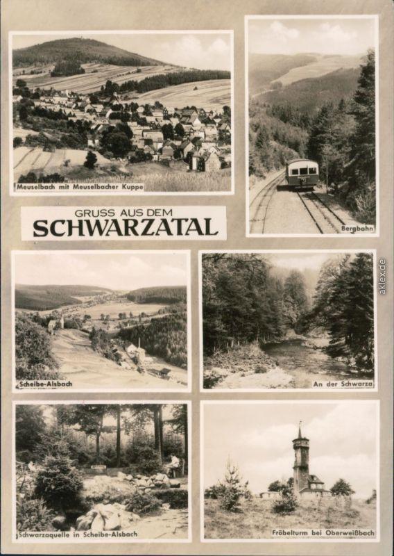 Meuselbach-Schwarzmühle Meuselbach mit Meuselbacher Kuppe, Bergbahn  1967