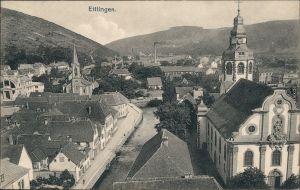 Ansichtskarte Ettlingen Stadt, Straße und Fabrik 1916