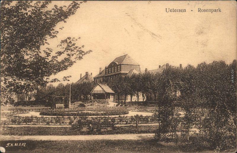 Ansichtskarte Uetersen Haus, Pavillon und Rosenpark 1929