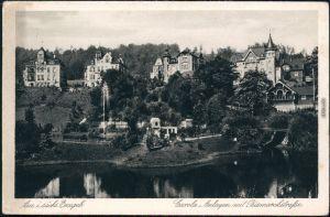 Ansichtskarte Aue (Erzgebirge) Carola Anlagen mit Bismarckstraße 1928