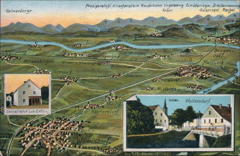 Wallersdorf 3 Bild Landkarte Geschäftshaus LK Dingolfing Landau 1914